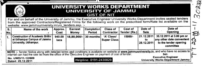 Construction of Academic Block at Udhampur Campus (Jammu University)