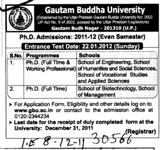 PhD Course (Gautam Buddha University (GBU))
