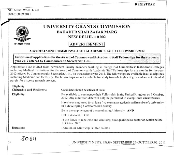 Commonwealth Academic Staff Fellowship 2012 (University Grants Commission (UGC))