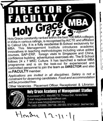 Director required (Holy Grace Academy of Management Studies)