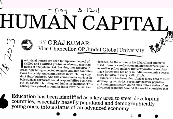 Message of C Raj Kumar (OP Jindal Global University)