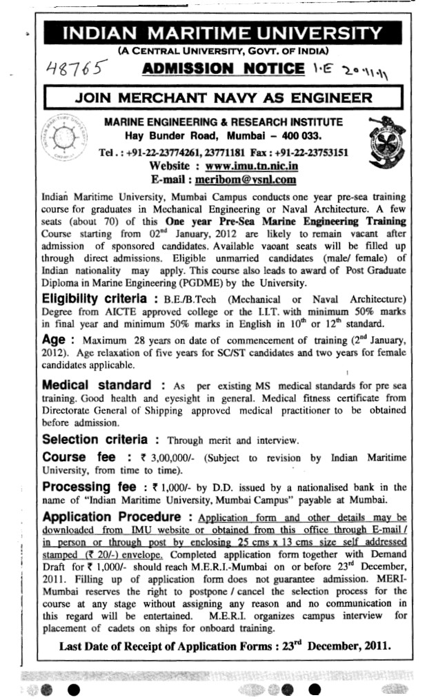 Joint Merchant Navy as Engineer (Indian Maritime University)