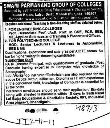 HODs Professor and Assistant Professor required (Swami Parmanand Group of Colleges)