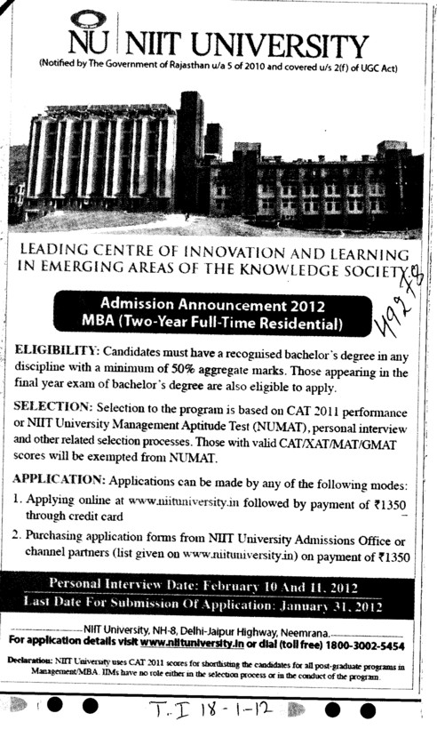 MBA Course (NIIT University)