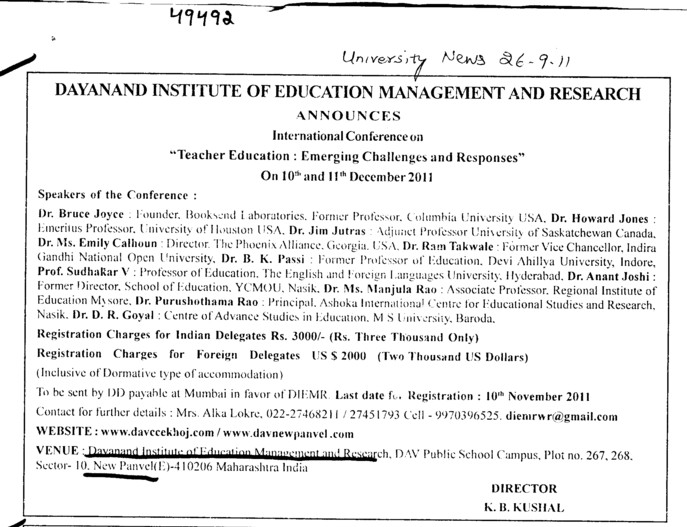 Message of Director K B Kushal (Dayanand Institute of Education, Management and Research)