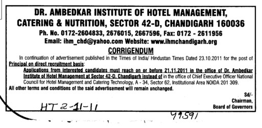 Change in the Principal Post (Dr Ambedkar Institute of Hotel Management Catering and Nutrition)