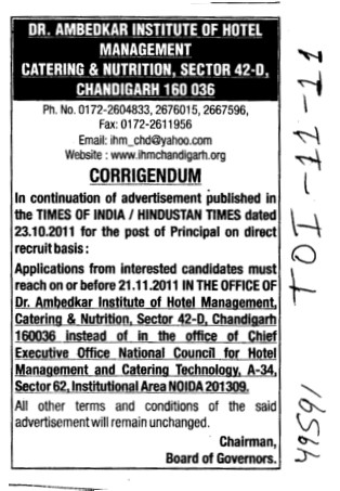 Change in the advertisement (Dr Ambedkar Institute of Hotel Management Catering and Nutrition)