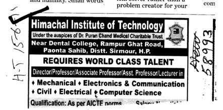 Director Professor and Assistant Professor required (Himachal Institute of Technology)