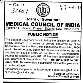 Letter of Permission for Undergraduate Courses (Medical Council of India (MCI))