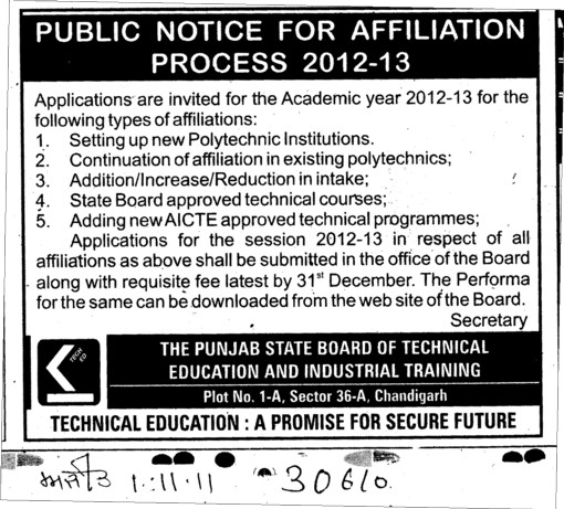 Affiliation Process 2012 2013 (Punjab State Board of Technical Education (PSBTE) and Industrial Training)