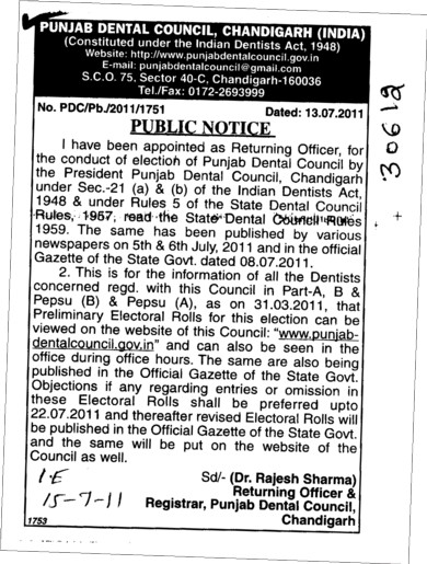 Returning Officer for the Conduct of election of Punjab (Punjab Dental Council)