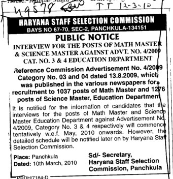 Math Master and Science Master etc (Haryana Staff Selection Commission (HSSC))
