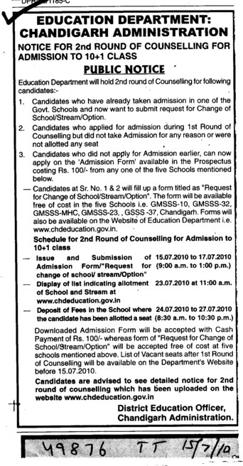 Counselling for the Candidates (Education Department Chandigarh Administration)
