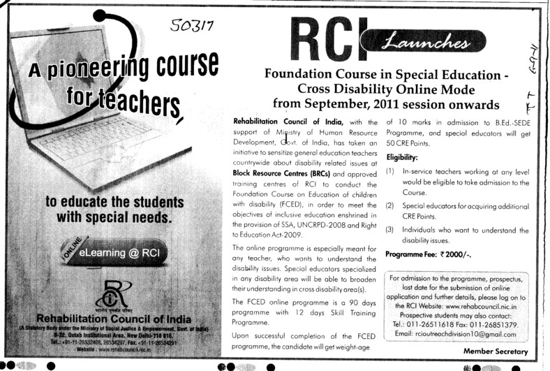 A pioneering Course for teachers (Rehabilitation Council of India)