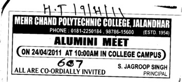 Alumni Meet on 24 4 2011 at 10 AM (Mehr Chand Polytechnic College)