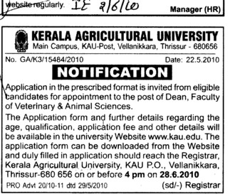 Dean Faculty of Veterinary and Animal Sciences (Kerala Agricultural University)