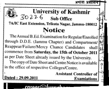 Annual BEd Examination (University of Kashmir Hazbartbal)