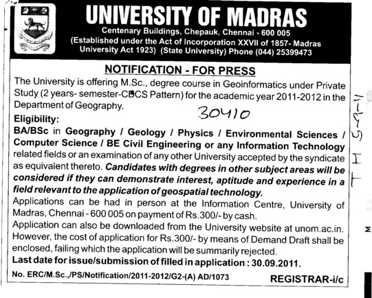 MSc in degree course (University of Madras)