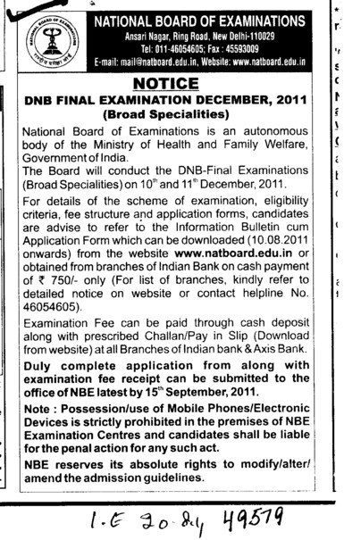 DNB Final Examination 2011 (National Board of Examinations)