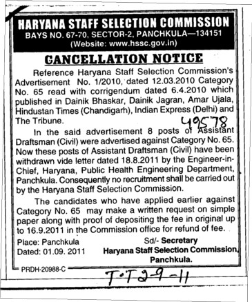 Cancellation Notice (Haryana Staff Selection Commission (HSSC))