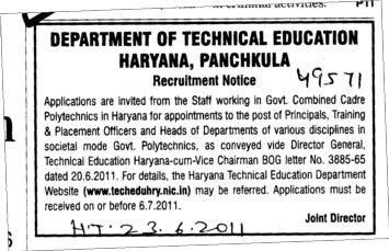 Principal and Training and Placement Officer etc (Directorate of Technical Education Haryana)