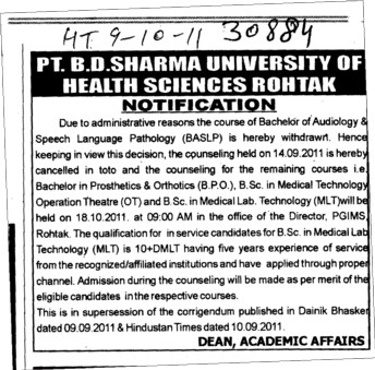 Bachelor of Audiology and Speech Language Pathology etc (Pt BD Sharma University of Health Sciences (BDSUHS))