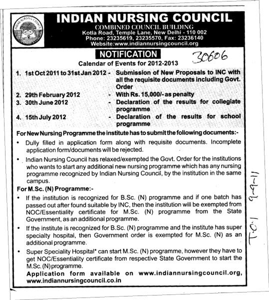 Nursing Programme and MSc Courses (Indian Nursing Council (INC))