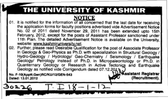 Assistant Professor required on contract basis (University of Kashmir Hazbartbal)