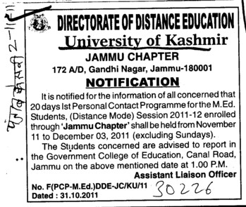 1st Personal Contact Programme for the MEd (University of Kashmir Hazbartbal)