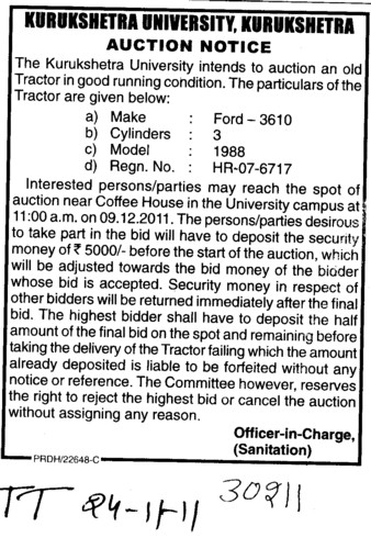 Auction Notice for old Tractor in good running condition (Kurukshetra University)