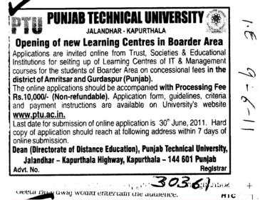 New Learning Centres in Boarder Area (Punjab Technical University PTU)