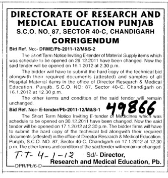 Change in advertisement (Directorate of Technical Education and Industrial Training Punjab)