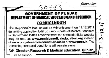 Change in the post of Medical Teachers (Director Research and Medical Education DRME Punjab)