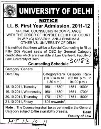 Counseling Schedule for LLB (Delhi University)