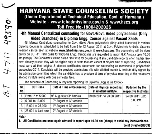 4th Manual Centralized Counseling (Haryana State Technical Education Society (HSTES))