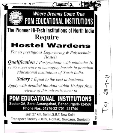 Hostel Warden required (PDM College of Engineering)