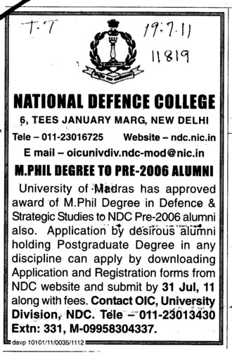 MPhill Degree to Pre 2006 Alumni (National Defence College)