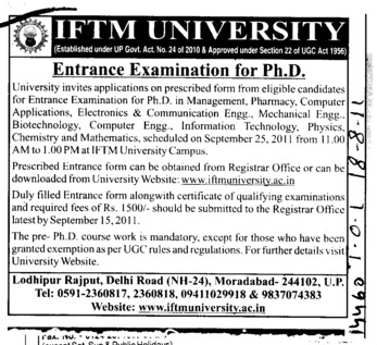 Entrance Examination for PhD (IFTM University)