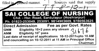 GNM and ANM Courses (Sai College of Nursing)
