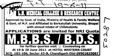 MBBS and BDS Courses (LN Medical College and JK Hospital)