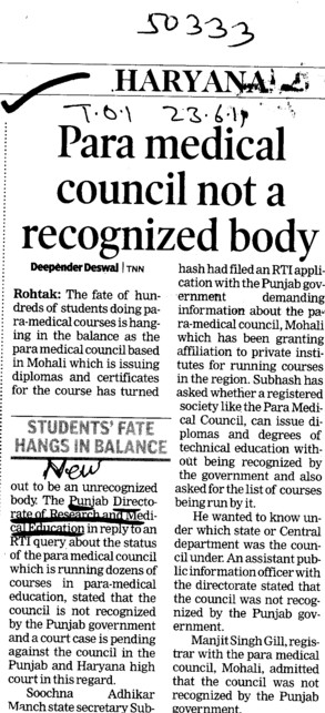 Para medical council not a recognized body (Director Research and Medical Education DRME Punjab)