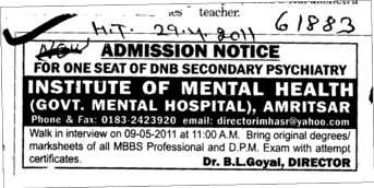 DNB Secondary Psychiatry (Institute of Mental Health (Government Mental Hospital))
