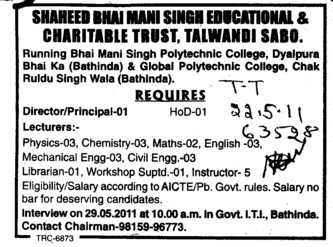 Director Principal and Lecturers (Shaheed Bhai Mani Singh Educational and Charitable Trust)
