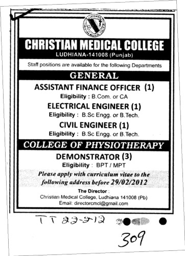 Assistant Finance Engineer and Electrical Engineer etc (Christian Medical College and Hospital (CMC))