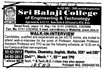 Professor Assistant Professor and Associate Professor (Sri Balaji College of Engineering and Technology)