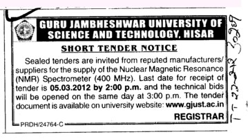 Supply of the Nuclear Magnetic Resonance Spectrometer (Guru Jambheshwar University of Science and Technology (GJUST))