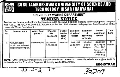 Renovation of Residential Complex and etc (Guru Jambheshwar University of Science and Technology (GJUST))