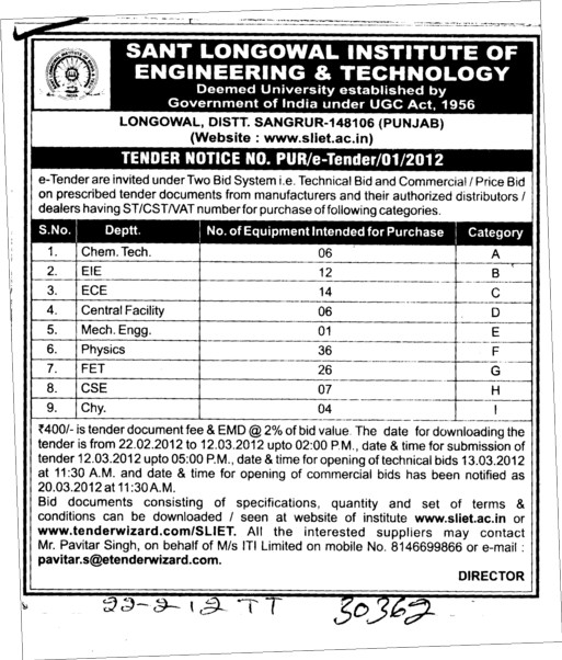 Tender Notice (Sant Longowal Institute of Engineering and Technology SLIET)