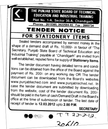 Tender Notice For Stationary Items (Punjab State Board of Technical Education (PSBTE) and Industrial Training)