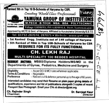 MBBS diploma holder MS and MD etc (Yamuna Group of Institutions)